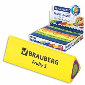 Ластик BRAUBERG Fruity S, 44×15×15 мм, цвет ассорти, треугольный (228713)