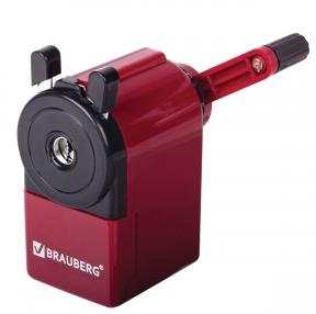 Точилка механическая BRAUBERG JET, металлический механизм, черный/бордовый (222517)