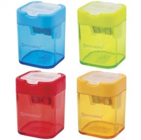 Точилка BRAUBERG Peak с контейнером, пластиковая, 2 отверстия, Ассорти (226945)