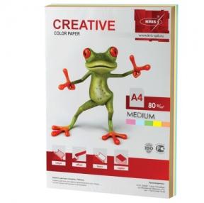 Бумага CREATIVE color, А4, 80 г/м2, 100 л.,цветная медиум