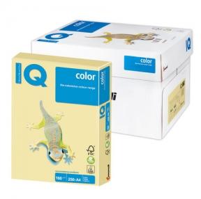 Бумага IQ  color, А4, 160 г/м2, 250 л., пастель желтая
