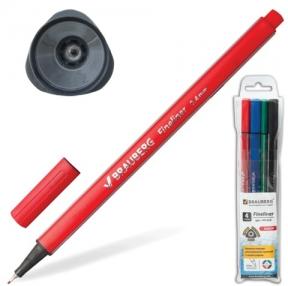 Ручки капиллярные BRAUBERG, набор 4 шт., «Aero», супертонкий метал. нак. 0,4 мм, трехгранный корпус, ассорти