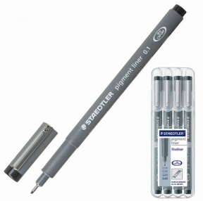 Ручки капиллярные STAEDTLER, набор 4 шт., толщина письма 0,1 / 0,3 / 0,5 / 0,7 мм, черные