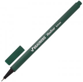 Ручка капиллярная (линер) BRAUBERG Aero, зеленая, трехгранная, металлический наконечник, линия письма 0,4 мм (142251)