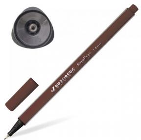 Ручка капиллярная (линер) BRAUBERG Aero, коричневая, трехгранная, металлический наконечник, линия письма 0,4 мм (142257)