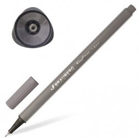 Ручка капиллярная (линер) BRAUBERG Aero, серая, трехгранная, металлический наконечник, линия письма 0,4 мм (142258)