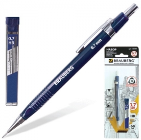 Набор BRAUBERG механический карандаш, трёхгранный синий корпус + грифели HB, 0,7 мм