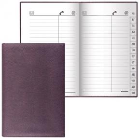 Телефонная книжка А7, 80×130 мм, 56 л., BRAUBERG, вырубной алфавит, «Favorite», под классическую кожу, коричневая