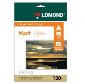 Фотобумага LOMOND для струйной печати, А4, 120 г/м2, 100 л., односторонняя, матовая