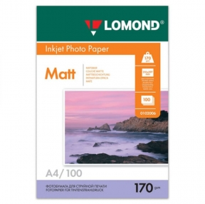 Фотобумага для струйной печати, А4, 170 г/м2, 100 листов, двухсторонняя матовая, LOMOND, 0102006 (361577)
