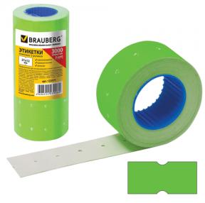 Этикетки PN, 21×12 мм, BRAUBERG, комплект 5 рулонов по 600 шт., прямоугольные, зеленые