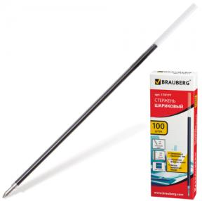 Стержень шариковый BRAUBERG , 140 мм, для ручки офисной , евронаконечник, 1,0 мм, синий