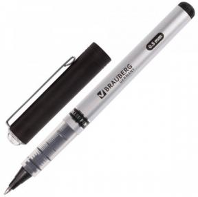 Ручка-роллер BRAUBERG Flagman, ЧЕРНАЯ, корпус серебристый, хромированные детали, узел 0,5 мм, линия письма 0,3 мм (141555)