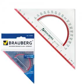 Треугольник BRAUBERG «Сrystal», с транспортиром, 45×13 см, прозрачный, с выделенной шкалой