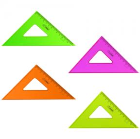 Треугольник СТАММ «Neon Cristal», угол 45, шкала 12 см, тонированный, прозрачный, неон. ассорти