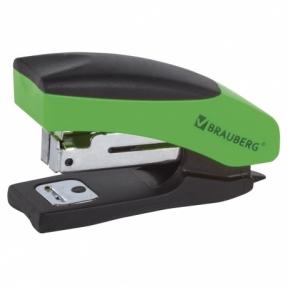 Степлер №10 Мини BRAUBERG «Soft», до 12 листов, с резиновой накладкой и антистеплером,черно-зеленый (226858)