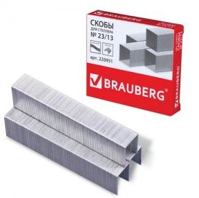 Скобы для степлера №23/13, 1000 штук, BRAUBERG, от 30 до 80 листов (220951)