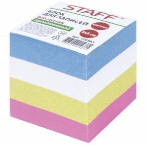 Блок для записей STAFF, проклеенный, куб 8×8 см, 800 листов, цветной, чередование с белым, 120383