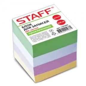 Блок для записей STAFF проклеенный, куб 8×8х800 л., цветной
