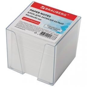 Блок для записей BRAUBERG  в подставке прозрачной, куб 9×9х9, белый (122223)