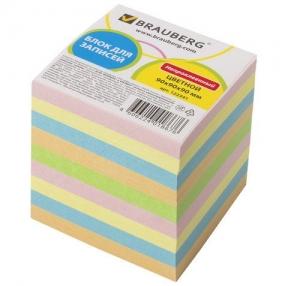 Блок для записей BRAUBERG , непроклеенный, 9×9х9, цветной (122341)