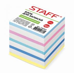 Блок для записей STAFF непроклеенный, куб 9×9х9 см, цветной (126367)