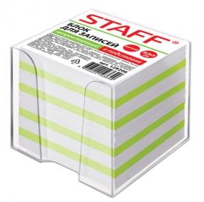 Блок для записей STAFF в подставке прозрачной,непроклеенный, куб 9×9х9 см, чередование зеленый с белым (129206)