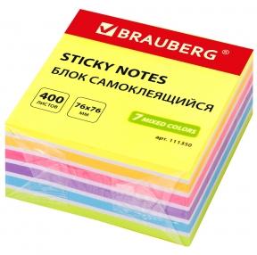 Блок самоклеящийся (стикеры) BRAUBERG НЕОНОВЫЙ 76×76 мм, 400 листов, 7 цветов (111350)