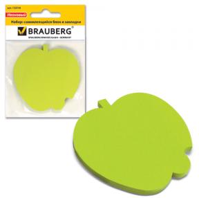 Блок самоклеящийся фигурный BRAUBERG  яблоко