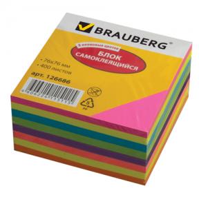 Блок самоклеящ. BRAUBERG НЕОНОВЫЙ 76*76 мм 400 л., 8 цветов