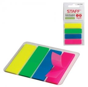 Закладки самоклеящиеся STAFF эконом, неоновые, пластиковые, 12×45 мм, 4 цв. х 25 л.