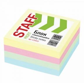 Блок самоклеящийся STAFF PROFIT ПАСТЕЛЬНЫЙ, 76×76 мм, 400 листов, 4 цвета (129352)